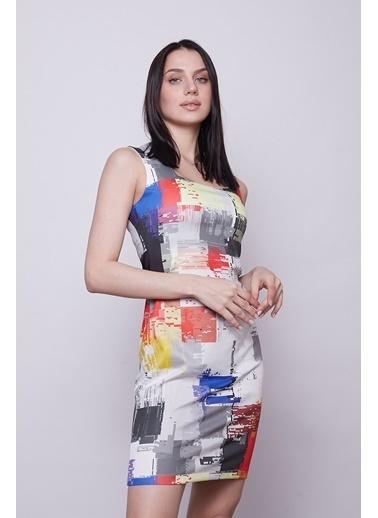 Jument Kadın Desenli Dar Kesim Likralı Kare Yaka Kolsuz Diz Üstü Elbise-Gökkuşağı Renkli
